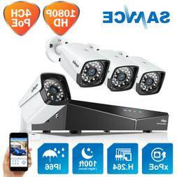 SANNCE 1080P 4CH NVR PoE Outdoor Full 2MP CCTV Security Came