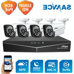 SANNCE 1080P HD PoE 4CH NVR Outdoor Security IP Cameras Syst