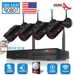 4CH 960P Wireless Home Security System 1080P 7 Inch Monitor