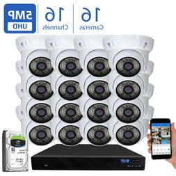 16 Channel 4K NVR  5MP Waterproof IP Security PoE Camera Sys