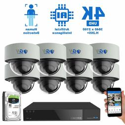 16 Channel 4K NVR 8 8MP PoE IP AI Color Night Vision Dome Se