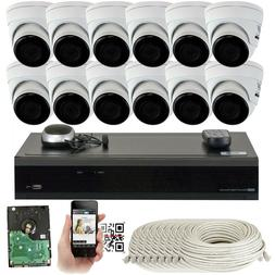 16 Channel 8MP 3840 x 2160p NVR  4K HD IP Dome PoE Security