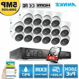 ANNKE 16CH 4K NVR POE Ultra HD 5MP Outdoor Security Camera S