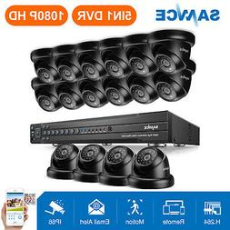 SANNCE 16pcs 1080P Dome Security Camera 16 Channel 5in1 DVR