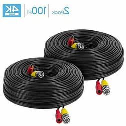 Amcrest 2-Pack 4K Security Camera Cable 100FT BNC Cable, Wir