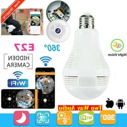 360°HD LED Wifi Bulb Hidden IP Camera Indoor Home Security