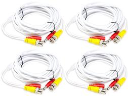 4 x 25ft BNC Video and Power Plug Play Cable for Security Ca