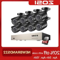 ZOSI 8CH 1080P HDMI DVR 720P Outdoor Surveillance Security C