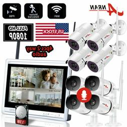 """4CH HD 1080P NVR Wireless 12""""LCD Monitor Security Camera Sys"""