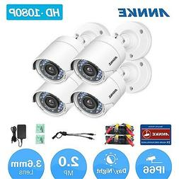 ANNKE 4pcs 1080P HD TVI Indoor Outdoor 2MP Home Security Cam
