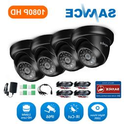 SANNCE 4pcs HD 1080P Outdoor Security Camera 2MP Metal Dome