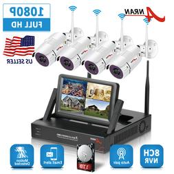 "1080P 4CH Wireless Security Camera System WIFI NVR 7""Monitor"