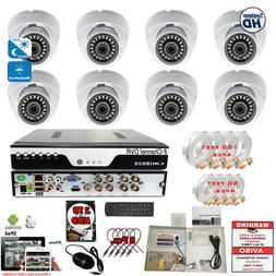 8 Ch DVR 8x 1080p Day Night Vision Outdoor Home CCTV Securit