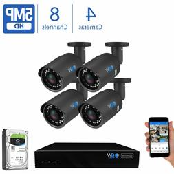 GW 8 Channel 8MP 4K NVR 4 X 5MP 1920P PoE IP Outdoor Home Se