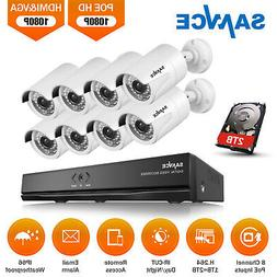 SANNCE 8CH HD 1080P PoE NVR Camera Power over Ethernet Secur