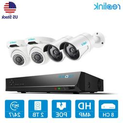 8CH IP 4MP Security Camera System PoE NVR Kit Surveillance R