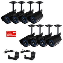 8x Security Cameras Weatherproof IR Day Night for CCTV Home