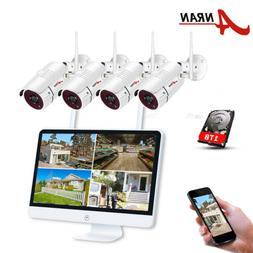 """ANRAN CCTV Wireless Security 1080P Camera System 15""""LCD 8CH"""