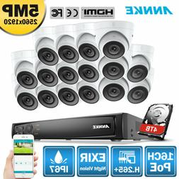 ANNKE H.264+ 4K 8MP POE 16CH NVR 5MP Outdoor Security IP Cam