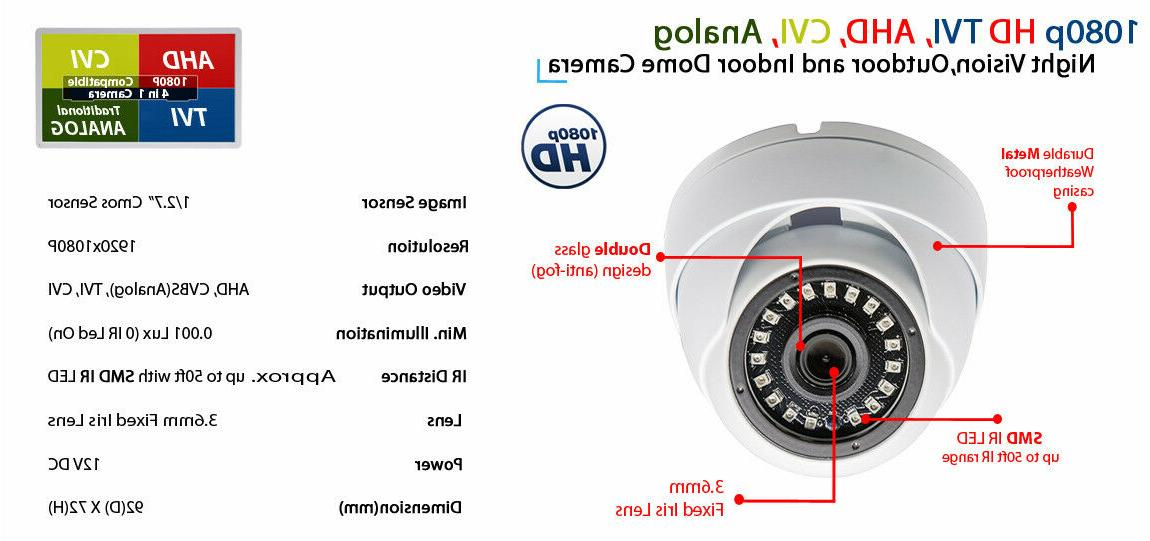 1080p Security Camera with Microphone Video DC Power