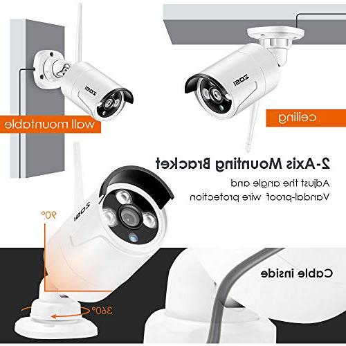 ZOSI Wireless Security Cameras Hard Drive,8 NVR 1.3MP Outdoor Home Video with 100ft Detection