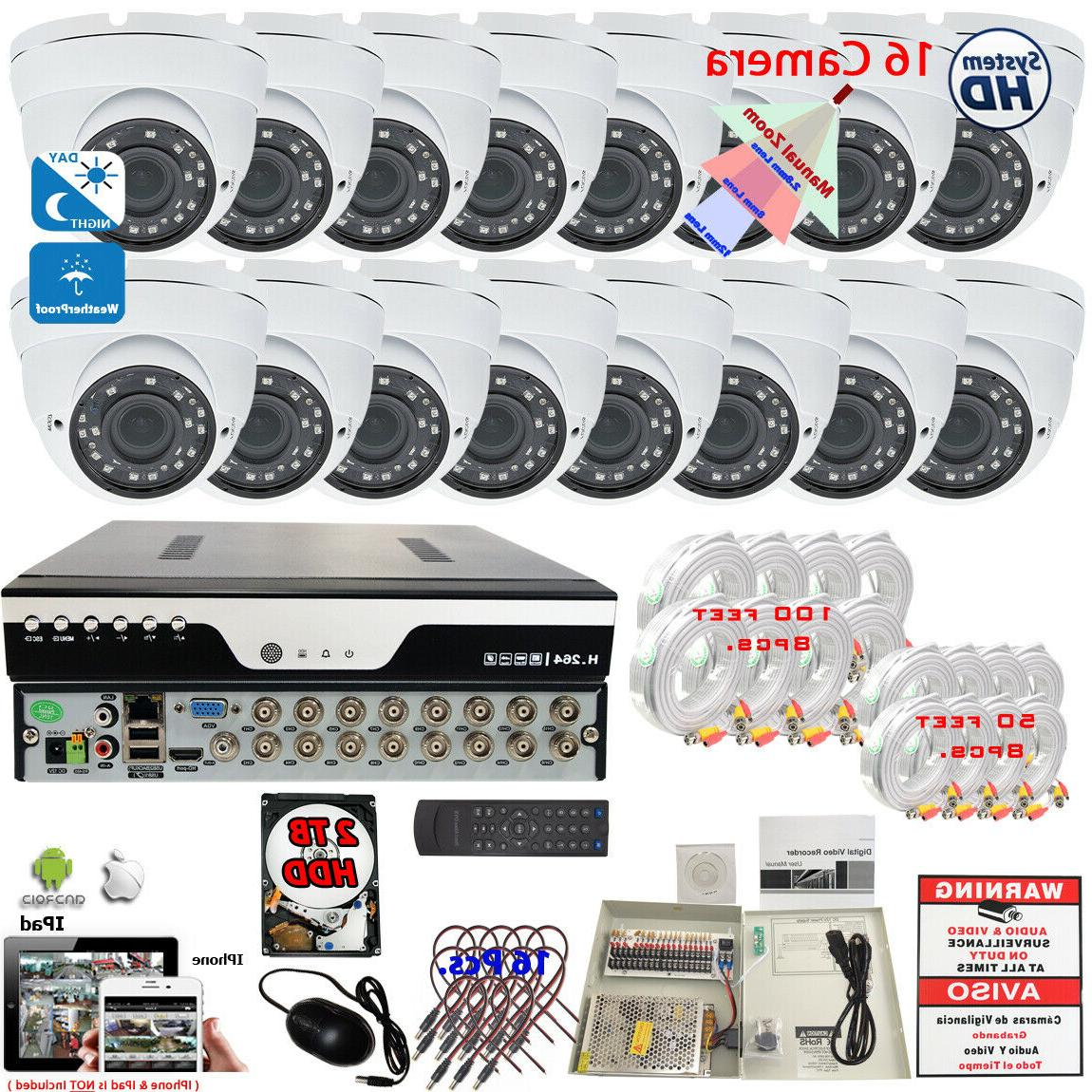 16 Channel HD CCTV Security Camera System Set + 16pcs 1080P