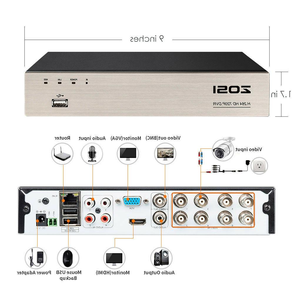 ZOSI HD DVR 720P Outdoor Home Surveillance 8 CH