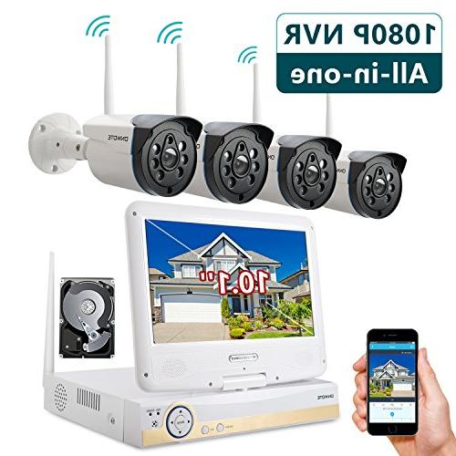 """ONWOTE 1080P HD Camera System 10.1"""" LCD Hard 80ft Night Remote Home Plug"""
