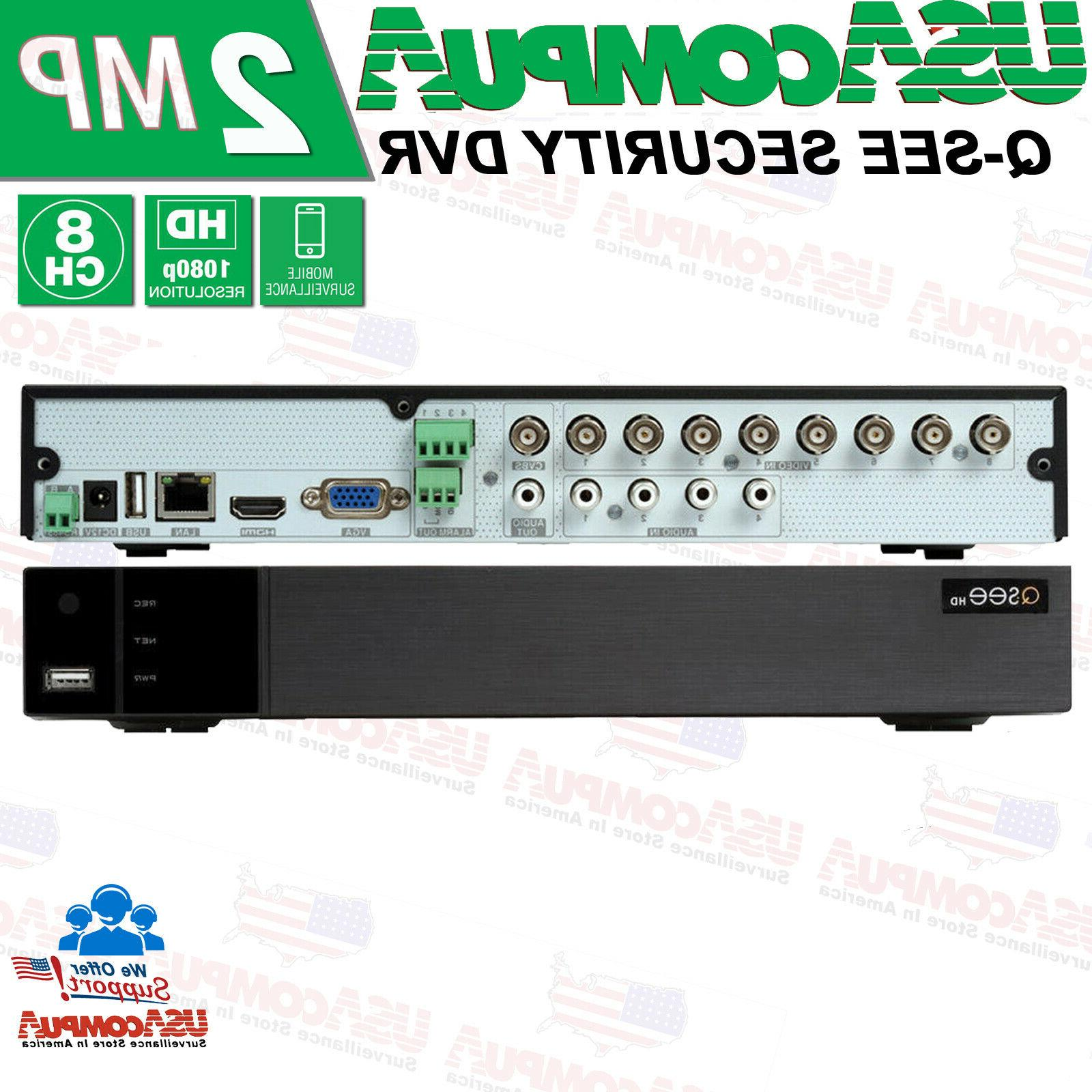 New Q-See 8CH 1080p Analog DVR Security Cameras System CCTV All Included