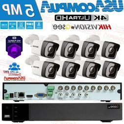 Q-See Security System 5 MP 8 Hikvision Camera 2TB Purple Har