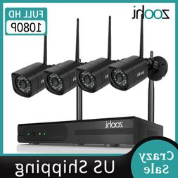 960P HD 4Pcs Wireless Outdoor CCTV Security Camera System 8C